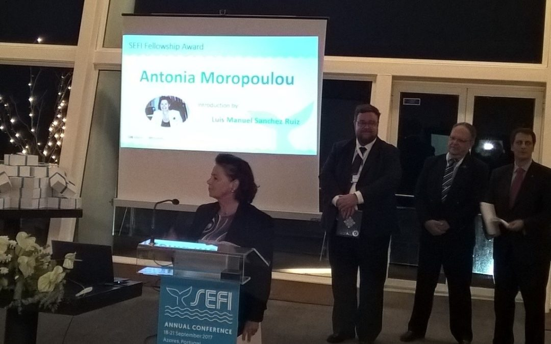 Η Πρόεδρος της Αντιπροσωπείας ΤΕΕ Αντωνία Μοροπούλου, βραβεύτηκε από την Ευρωπαϊκή Ένωση Πολυτεχνείων και Πολυτεχνικών Σχολών (SEFI)